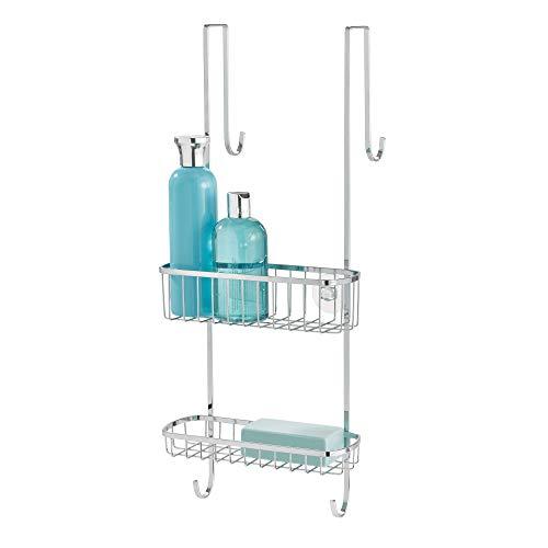 InterDesign Gia Estantería para ducha, estante para colgar en acero inoxidable, repisa para baño, plateado