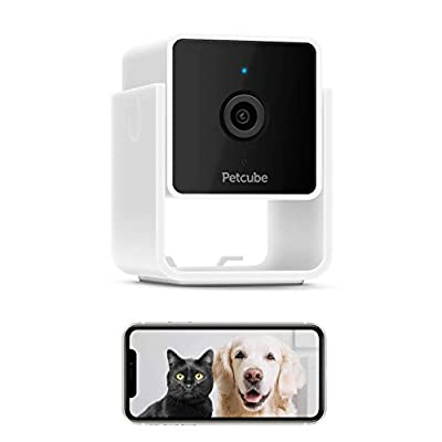 [New 2020] Petcube Cam Pet Monitoring Camera with Built-in Vet Chat for Cats & Dogs, Security Camera with 1080p HD Video, Night Vision, Two-Way Audio, Magnet Mounting for Entire Home Surveillance