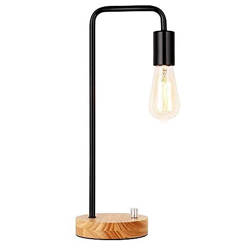 Lámpara de mesita de noche, lámpara de mesa industrial de estilo retro, lámpara de mesa de lectura para dormitorio, salón, dormitorio, oficina, interruptor giratorio, color negro