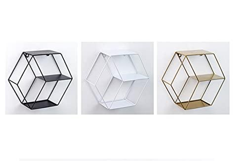 Geometría Abstracta Moderna Hexágono Estantes De Almacenamiento De Pared De Metal Estantes De Exhibición De Marco Figura Colgante De Moda Decoración Para Sala De Estar Dormitorio Baño Cocina O