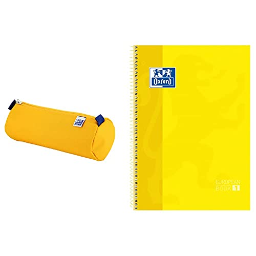 ESTUCHE OXFKIDS REDONDO + Oxford cuaderno Europeanbook 1, microperforado, tapa extradura, espiral, a4+ Amarillo