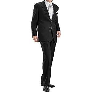 【MARUTOMI】2ツ釦 メンズ フォーマルスーツ 濃染加工 深みブラック ウエストアジャスター調整機能付き セレモニースーツ 結婚式 冠婚葬祭 深みブラック 黒 BIG ビッグサイズ 礼服 メンズスーツ suit ◆ブラック 1105Z-1-A6