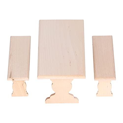 Atyhao Meubles de Maison de Poupée, Chaise de Table à Manger de Maison de Poupée en Bois 1:12 Simulée Bricolage Meubles Miniatures Modèle Jouet Accessoire de Décoration de Maison de Poupée(#1)