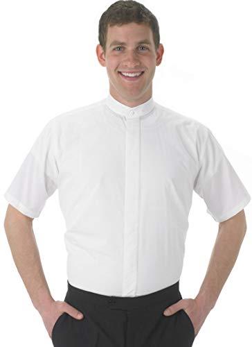Henry Segal Men's Banded Collar Short Sleeve Shirt, White XXX-Large
