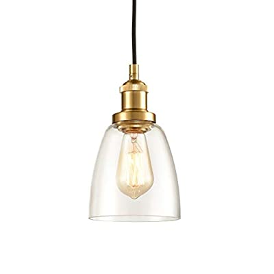 CLAXY Glass Pendant Lighting Antique Brass Mini Kitchen Island Haning Light Fixture