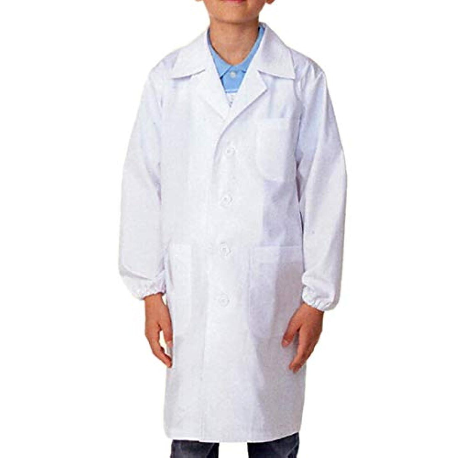 リングレットスラダム縁白衣 児童 子供 小学生用 シングル 診察衣 実験衣 医療白衣 OP-121