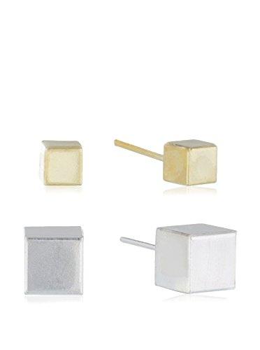 Córdoba Jewels |Set de pendientes en plata de Ley 925 y plata de Ley 925 bañado en oro. Diseño Cubos Colors