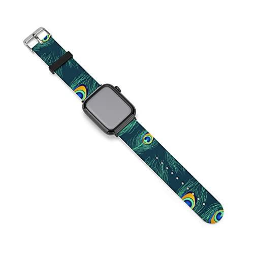 Patrón sin costuras de plumas de pavo real banda de silicona para reloj Apple, adecuado para mujeres y parejas masculinas, longitud ajustable, 42mm/44mm,