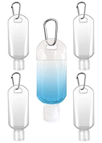 Botellas de viaje rellenables, envases para desinfectantes de mano, transparentes,de plástico, vacías, con mosquetón, clip (5 unidades)