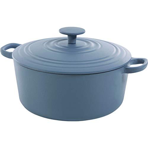 BK Cookware Cocotte en Fonte Émaillée avec Couvercle 24 cm, Dutch Oven, Casserole Induction Ronde 4.2 Litres, Tous Feux, Bleu Denim