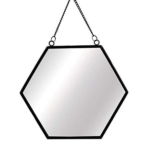 Jet Black Hexagon Mirror Glass Monochrome Wall Hanging Chain Link Metal Frame