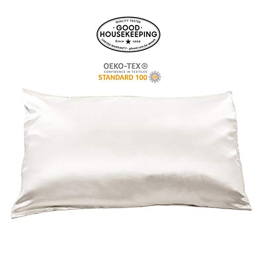 Fishers Finery 19mm 100% Pure Silk Pillowcase, Good Housekeeping Quality Tested (White, Q)