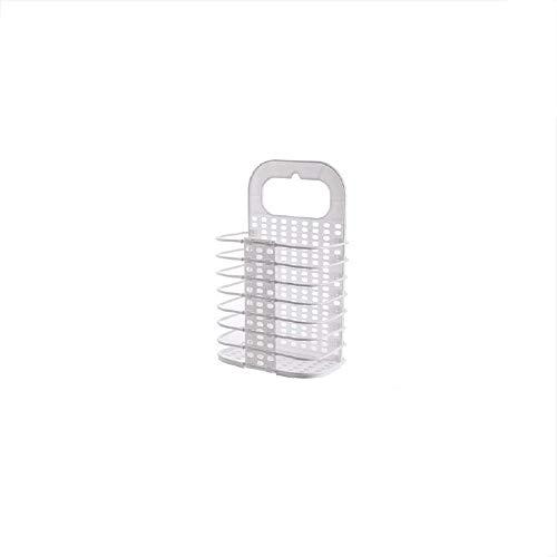Pwofrg Wit/grijs badkamer Wasmand vuile kleren Storage Basket Badkamer Opvouwbare Mand Plastic kan worden geplaatst terug te zetten Storage Basket (Color : White)