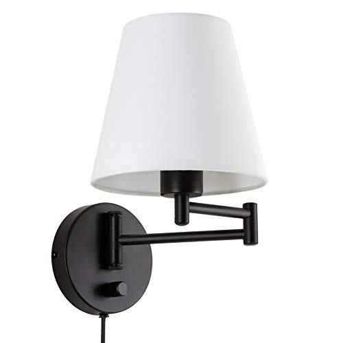 CO-Z Modern Swing Arm Wall Mount Light Plug in, Corded Wall Lamps with White Fabric Shade, Black Metal Adjustable Wall Sconce, Wall Mount Lamp for Bedroom, Living Room, Bedside