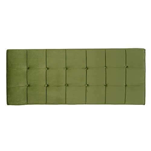 Cabecero tapizado capitoné de Terciopelo Verde para Cama de 135/150 cm - LOLAhome