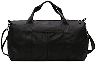 Sports Gym Bag with Shoes Compartment & Wet Pocket, Waterproof Workout Duffel Bag Travel Bag for Women Men (Black)