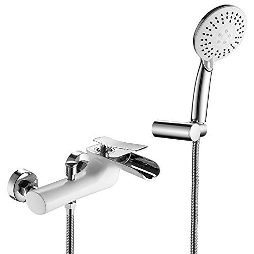 Badewannenarmatur Wasserfall White and Chrome Badewanne Armatur Messing Wandhalterung Einzelgriff Wannenarmatur mit Handbrause und 1,5 M Brauseschlauch