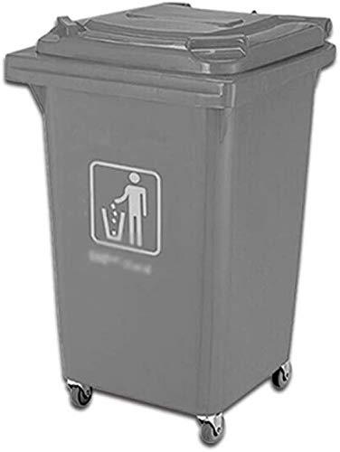Vuilnisbak op wielen beweegbare grijze vuilnisemmer met deksel voor buiten met hoge capaciteit (maat: 60 l). 60 liter.