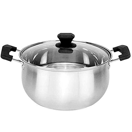 QIXIAOCYB Olla de sopa plana de acero inoxidable de tres capas con parte inferior compuesta, olla de gachas de cocina antiadherente multifunción, cazuela fácil de limpiar