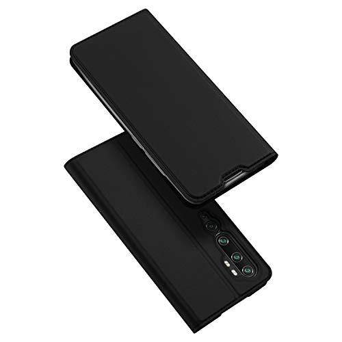 DUX DUCIS Hülle für Xiaomi Mi Note 10 / Mi Note 10 Pro, Leder Flip Handyhülle Schutzhülle Tasche Hülle mit [Kartenfach] [Standfunktion] [Magnetverschluss] (Schwarz)