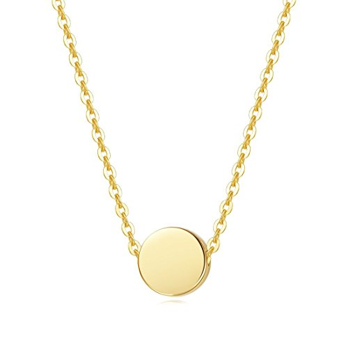 Carleen Solid Real 14K Yellow Gold Tiny Dot 6mm Round Small Cute Simple Coin Necklace Pendant Minimalist Dainty Everyday Fine Jewelry For Women Girls Teens, 16+2 Extender Gold Chain