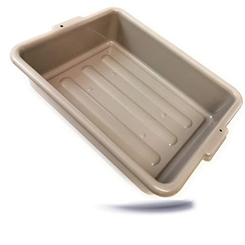 Kerafactum Allzweck Wanne Box Geschirrwanne Kühlwanne Spülwanne Spülbecken Waschbecken Camping Allzweckwanne 51 x 39 x 13 cm in grau Aufbewahrungsbox ohne Deckel Kiste STAPELBAR mit Griffmulde