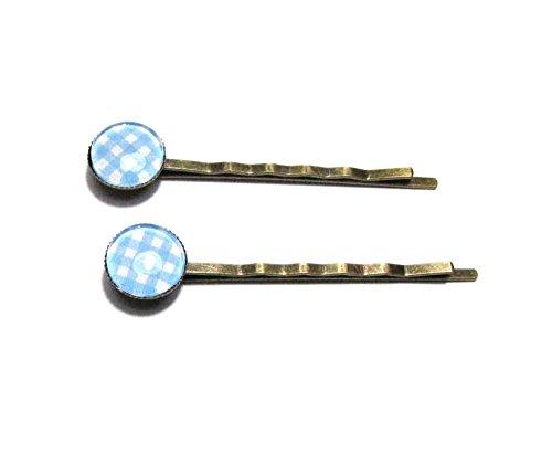 2 Barrettes épingles à cheveux, cabochons motif vichy bleu, support bronze