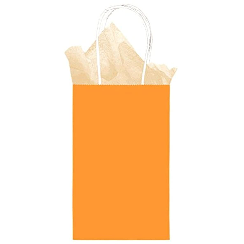 12 Pack Solid Orange Color Kraft Gift Bags - Medium Size 8