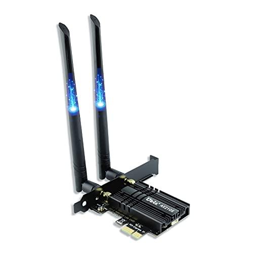 Ubit WiFi 6E AX210 PCIe WLAN Karte con BT5.2,Máximo 5374Mbit/s (2.4G+5G+6G),Adaptador Inalámbrico 802.11AX de Doble Banda con MU-MIMO,OFDMA,Latencia Ultrabaja,Soporta Windows 10,64 bits