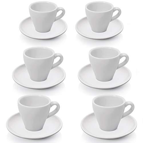 Gastro Spirit - 12 teiliges Espresso-Tassen/Mokka-Tassen Set - Weiß, 90 ml, Porzellan, dickwandig, spülmaschinenfest