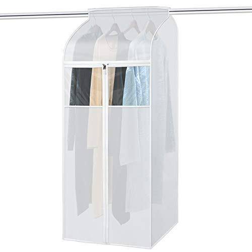 Zilink Large Garment Bags for Storage 54 inch Dust-Proof Hanging Garment Clothes Cover Suit Bags Organizer Clothes Cover Protector for Suit Coats Dress Closet Storage