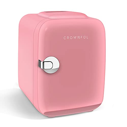 CROWNFUL Mini Fridge, 4 Liter/6 Can Portable Cooler and Warmer Personal Refrigerator for Skin Care, Cosmetics, Beverage, Food,Great for Bedroom, Office, Car, Dorm, ETL Listed (Pink)