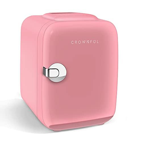 CROWNFUL Mini nevera, 4 litros/6 latas, refrigerador portátil y calentador personal para el cuidado de la piel, cosméticos,...
