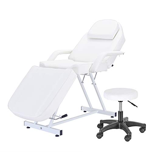 Balance Massage Bed Table Adjustable Reclining Beauty Salon Chair Tattoo Spa Facial Couch Bed with Stool, White