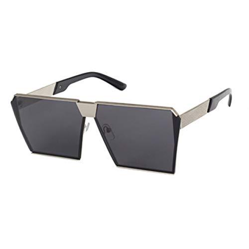 ZRTYJ Mode Platz Sonnenbrille Frauen Promi Metall Unisex Herren Übergroße Sonnenbrille Spiegellinse Cool