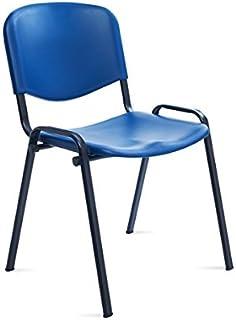 Silla confidente de 4 patas para visitas. Respaldo y asiento fabricados en PVC plástico. Apilable. Estructura de tubo metálico de gran resistencia RD-975V15-1 Color azul. Rocada