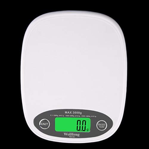 CYONGYOU Báscula electrónica de cocina LCD ultra delgada blanca para pérdida de peso de alimentos