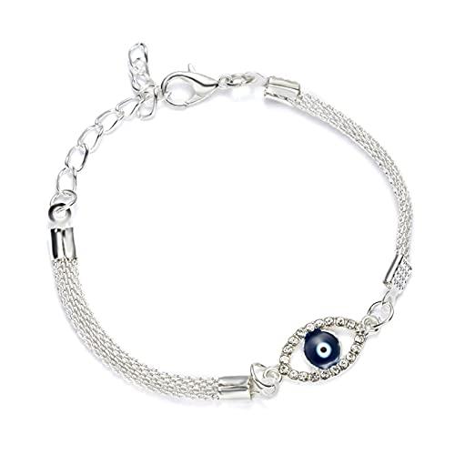 PangTuZiYin Pulseras de Encanto chapadas en Plata de Lujo, Pulsera de Ojo Malvado de Cristal Azul, Pulsera de Cuentas de Ojo de la Suerte Turco esmaltada para joyería de Mujer