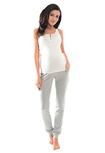 Purpless Damen Schwangerschafts Jogginghose Umstands-Sporthose Schwangerschaftshose mit Bauchband Umstandsmode 1307 (46, Light Gray Melange)