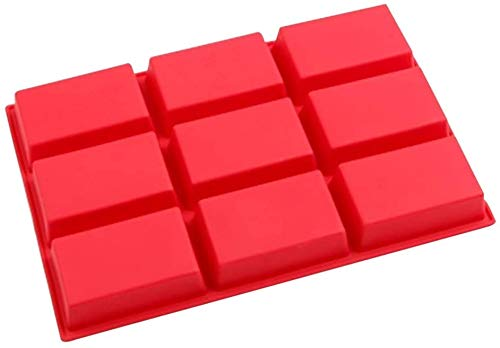 Voarge Molde rectangular de silicona con 9 agujeros rectangulares, molde de silicona para horno, molde de pan antiadherente, molde de silicona para chocolate, tartas, pan, galletas
