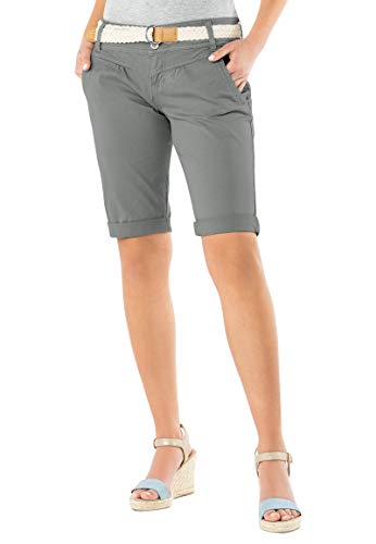 Fresh Made Damen Bermuda-Shorts in Pastellfarben mit Gürtel Light-Grey M
