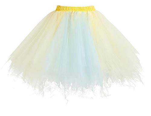 Homrain Mujer Faldas Tul Enaguas Tutu Enagua Underskirt para Rockabilly Vestidos Champagne-Light Blue XL