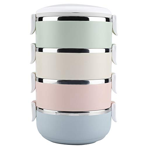 4 Schicht stapelbar Isolierte Lunchbox - Tragbarer Edelstahl Thermal Lunch Box Container Bento Box Lebensmittelbehälter(2800 ml)