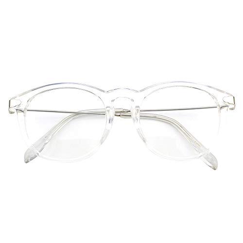 Happy store CN88Fashion ranura de metal Templo Oval cuerno con borde transparente lente gafas N1411FBA88A7, Transparente, 1