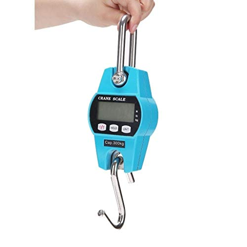 DYB Mini báscula electrónica de Gancho, Paquete portátil, pesaje Postal, Cerdo, Oveja, Ganado, Pantalla LCD (Color: Azul, tamaño: 300 kg / 600 LB)