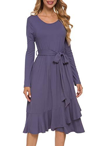 levaca Women Flowy Empire Waist Modest Cute Work Casual Midi Dress with Belt Daybreak