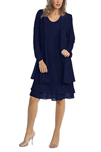 Babyonlinedress Damen Übergröße Brautmutter Kleider mit Jacke Chiffon Hochzeitskleid Abendkleid Ballkleid GR. 2XL