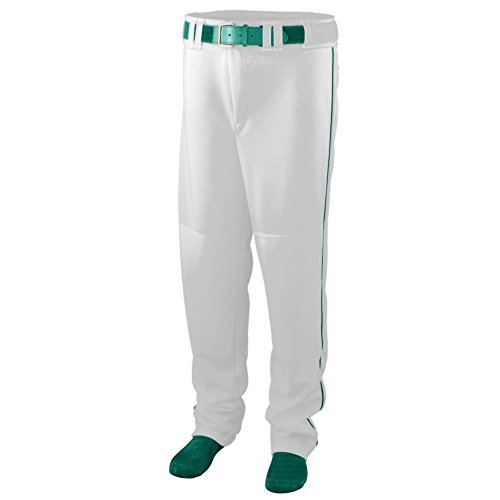 Augusta Activewear Series Baseball/Softball Pant with Piping - Youth, White/Dark Green, Large