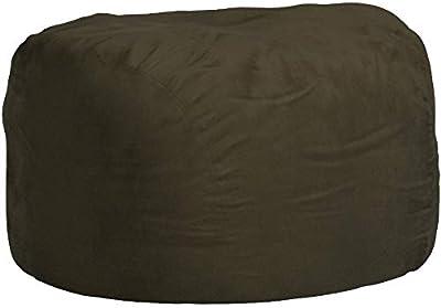 Comfy Sacks 6 ft Memory Foam Bean Bag Chair, Olive Micro Suede