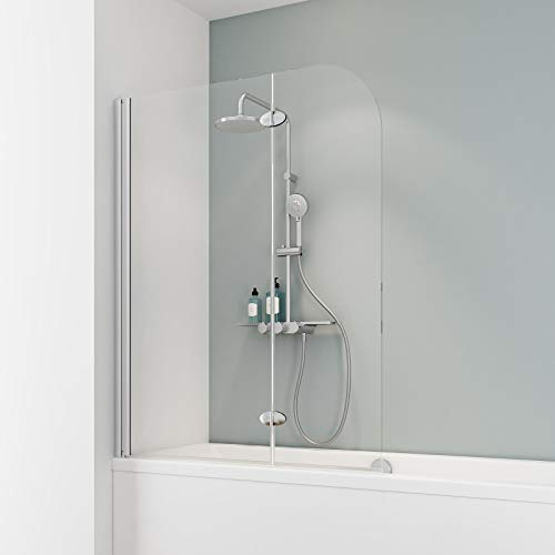 Schulte Duschabtrennung, verschiedene Gläser, faltbar für Badewanne, einfacher Aufbau, 112 x 140 cm, 5 mm Sicherheitsglas Klar hell, alunatur, ExpressPlus, EP3353 01 50